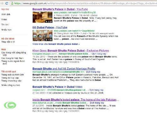 Google liệt kê hàng chục đường dẫn tới Tòa lâu đài này của Bà Benazir Bhutto.