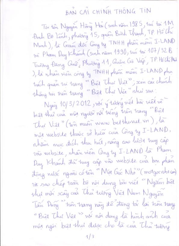Thông báo Cải chính thông tin trên website BietThuViet.vn - Trang 1