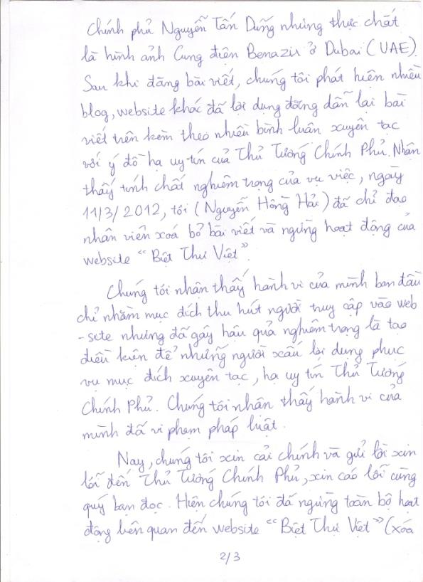 Thông báo Cải chính thông tin trên website BietThuViet.vn - Trang 2