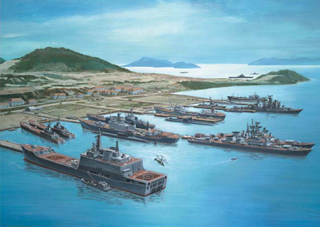 Hình vẽ minh họa hoạt động nhộn nhịp của tàu chiến Hải quân Liên Xô tại vịnh Cam Ranh.