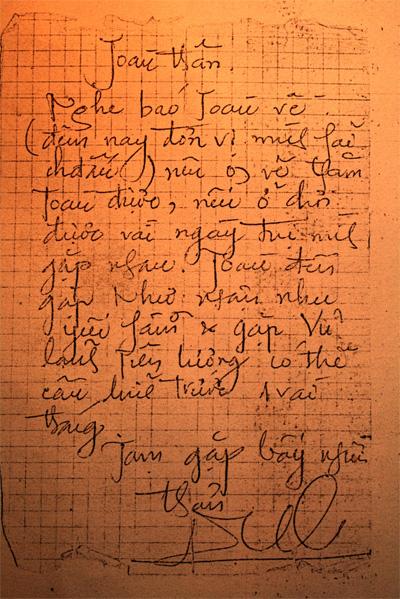 Lá thư hơn 30 năm trước của Thủ tướng Nguyễn Tấn Dũng gửi tác giả.