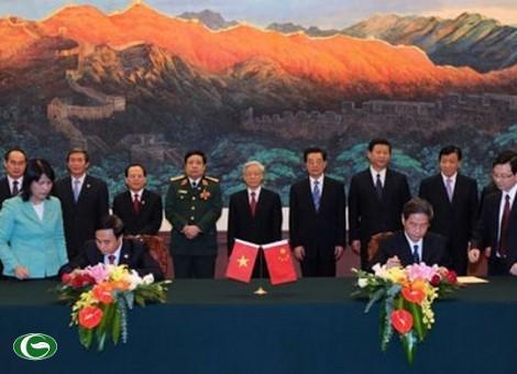 Lễ ký kết thỏa thuận về những nguyên tắc cơ bản chỉ đạo giải quyết vấn đề trên biển giữa hai nước Việt Nam-Trung Quốc (trong chuyến thăm Trung Quốc của Tổng Bí thư Nguyễn Phú Trọng vào 10/2011)