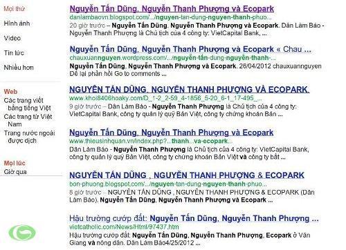 """Các trang blog đăng lại bài """"Nguyễn Tấn Dũng, Nguyễn Thanh Phượng và Ecopark"""""""