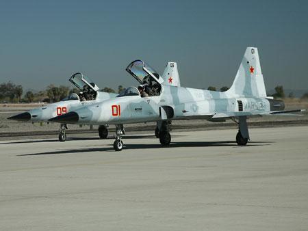 Các máy bay tiêm kích hạng nhẹ F-5E thường xuyên được Mỹ lựa chọn đóng giả tiêm kích MiG.
