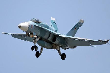 Nhưng có lẽ màu sắc sơn trên F/A-18 này là giống hơn với tiêm kích Su-27/30.