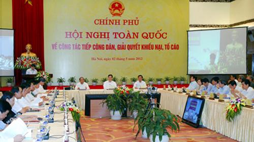 Thủ tướng Nguyễn Tấn Dũng chủ trì Hội nghị trực tuyến về giải quyết khiếu nại, tố cáo