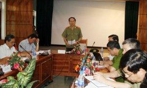 Thượng tướng Trần Đại Quang, Ủy viên Bộ Chính trị, Bộ trưởng Bộ Công an phát biểu chỉ đạo tại buổi làm việc.