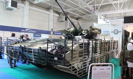 """Mẫu xe chiến đấu bộ binh MGC-1 với sự bao bọc của giáp """"lồng gà""""."""