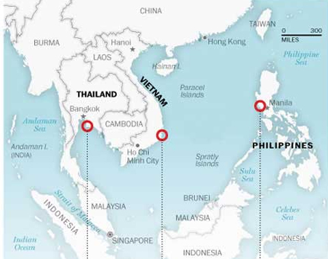 Những địa điểm mà Mỹ đang ngắm nghía ở Đông Nam Á. Đồ họa: WP