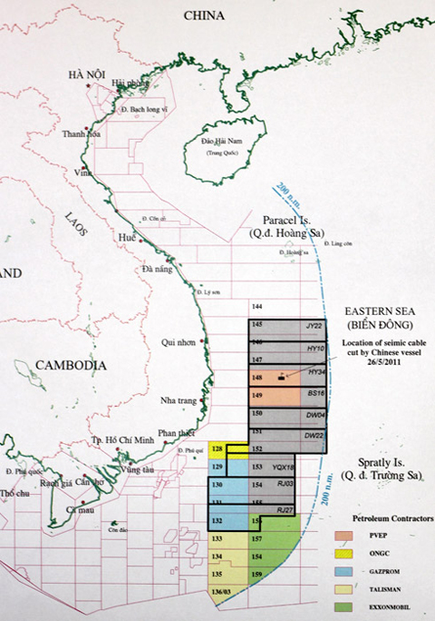 Bản đồ chào thầu 9 lô dầu khí trái luật của Tổng công ty Dầu khí Hải dương Trung Quốc (CNOOC).