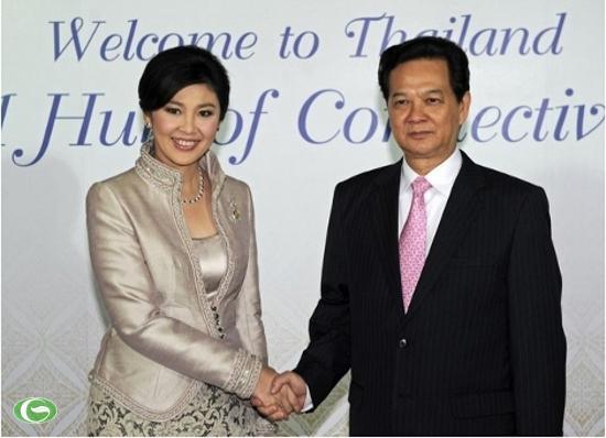 Thủ tướng Nguyễn Tấn Dũng và Thủ tướng Yingluck Shinawatra