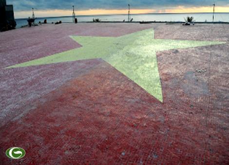 Quốc kỳ Việt Nam bằng gốm thực hiện trên mái tòa nhà hội trường của đảo Trường Sa lớn, được Tổ chức Kỷ lục Việt Nam công nhận là cờ Tổ quốc bằng gốm lớn nhất Việt Nam.