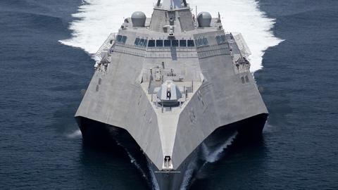Tàu chiến đấu Littoral của Mỹ được cử tới Singapore tập trận. Đây là một trong những chiến hạm của hải quân Mỹ hoạt động tại khu vực châu Á - Thái Bình Dương. Ảnh: US Navy