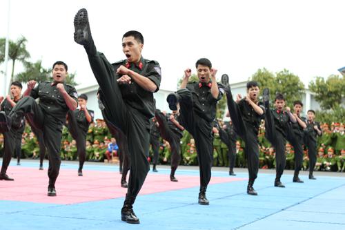 Lực lượng Cảnh sát cơ động có màn trình diễn uy lực song không kém phần đẹp mắt. Mỗi động tác đều hết sức thuần thục và đều đặn, xứng đáng là một trong những lực lượng đi đầu của cảnh sát nhân dân Việt Nam.