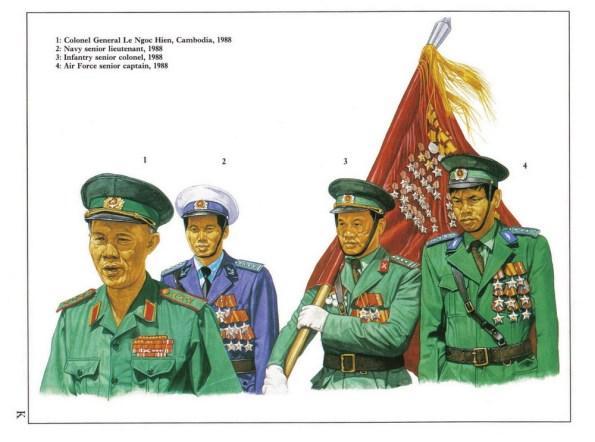 1 - Thượng tướng Lê Ngọc Hiền tại Campuchia năm 1988.  2 - Thượng uý hải quân năm 1988.  3 - Thượng tá lục quân năm 1988.  4 - Thượng tá không quân năm 1988.