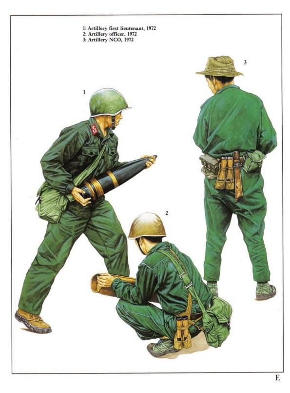 1 - Trung úy pháo binh năm 1972.  2 - Sĩ quan pháo binh năm 1972.  3 - Hạ sĩ quan pháo binh năm 1972.