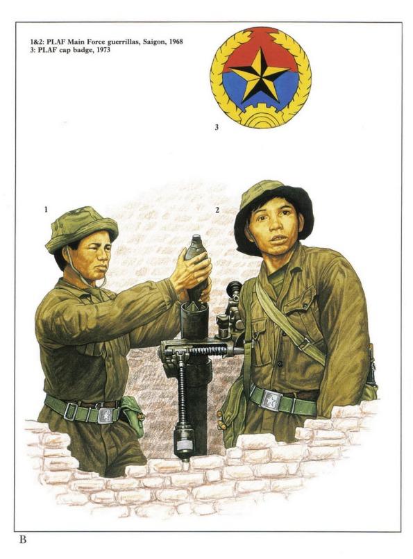1 & 2 - Chiến sĩ du kích thuộc Mặt trận Dân tộc Giải phóng miền Nam (PLAF) ở Sài Gòn năm 1968.  3 - Huy hiệu của chiến sĩ thuộc Mặt trận Dân tộc Giải phóng miền Nam.