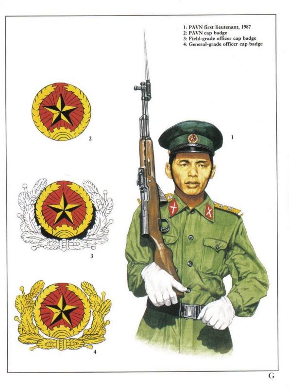 1 - Trung úy của Quân đội Nhân dân Việt Nam năm 1987.  2 - Huy hiệu gắn trên mũ của chiến sĩ Quân đội Nhân dân Việt Nam.  3 - Huy hiệu gắn trên mũ của sĩ quan Quân đội Nhân dân Việt Nam.  4 - Huy hiệu gắn trên mũ của cấp tướng.
