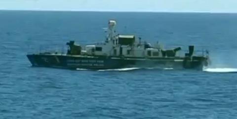 Tàu cảnh sát biển 5012, con tàu được nhắc đến trong phóng sự của CCTV. Ảnh chụp từ clip.