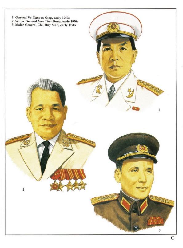 1. Tướng Võ Nguyên Giáp, đầu thập niên 1960.  2. Thượng tướng Văn Tiến Dũng, đầu thập niên 1970.  3. Thiếu tướng Chu Huy Mân, đầu thập niên 1970.