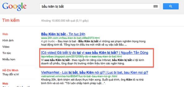 Hơn 10 triệu kết quả tìm kiếm từ Google vê việc bầu Kiên bị bắt.