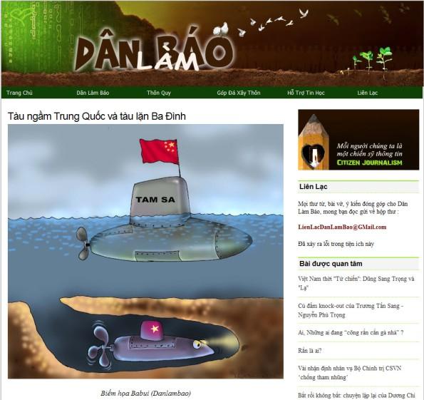 """Ảnh chụp màn hình blog """"Dân làm báo"""" với bài viết """"Tàu ngầm Trung Quốc và tàu lặn Ba Đình"""""""