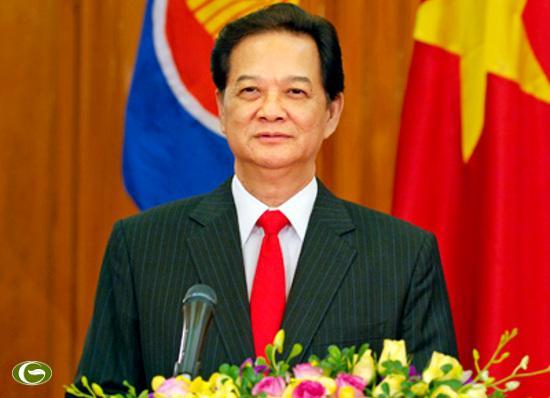 Thủ tướng Nguyễn Tấn Dũng đọc diễn văn chào mừng kỷ niệm 45 năm Ngày thành lập ASEAN.