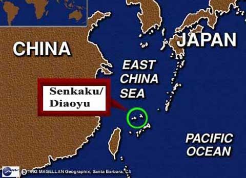 Bản đồ cho thấy vị trí quần đảo tranh chấp Senkaku/Điếu Ngư ở biển Hoa Đông. Đồ họa: The Reviewer Library