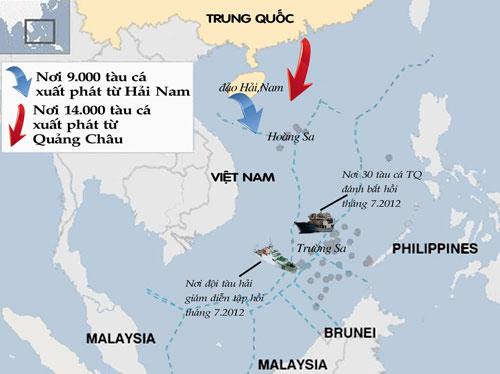 Lược đồ các địa điểm hoạt động của tàu Trung Quốc trong thời gian gần đây  - Đồ họa: Ngô Minh Trí