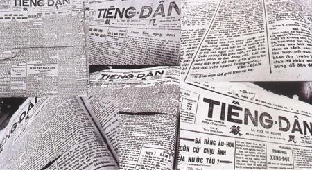 """Một số bài báo của Võ Nguyên Giáp với bút danh Hải Thanh, Vân Đình trên báo """"Tiếng Dân"""" (1929 - 1930)."""