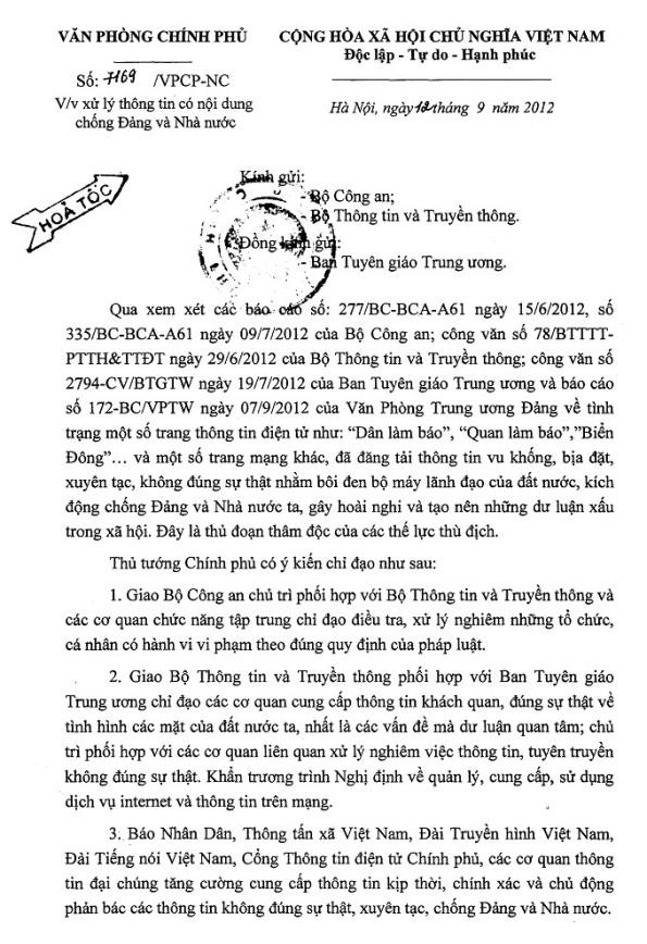 Công văn chỉ đạo của Thủ tướng Nguyễn Tấn Dũng v/v xử lý thông tin có nội dung chống Đảng và Nhà nước - Trang 01