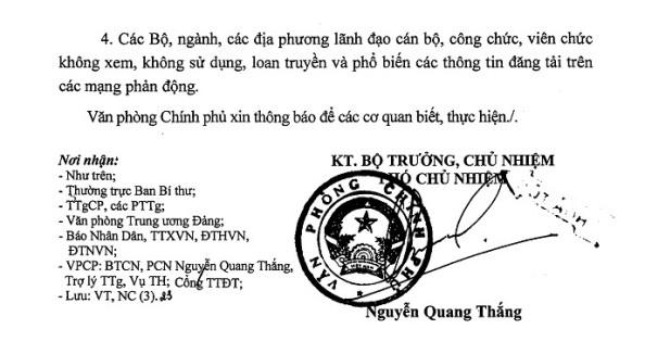 Công văn chỉ đạo của Thủ tướng Nguyễn Tấn Dũng v/v xử lý thông tin có nội dung chống Đảng và Nhà nước - Trang 02