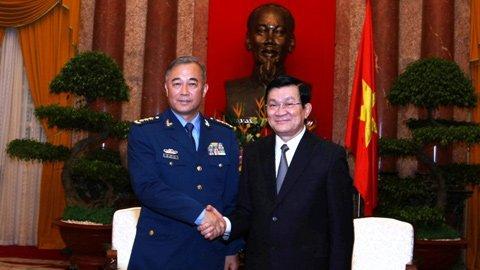 Chủ tịch nước Cộng hòa XHCN Việt Nam Trương Tấn Sang tiếp Thượng tướng Mã Hiểu Thiên. Ảnh: Minh Khánh