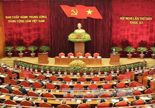 Chiều 15/10/2012, tại Trụ sở Trung ương Đảng diễn ra Lễ bế mạc Hội nghị lần thứ sáu Ban Chấp hành Trung ương Đảng Cộng sản Việt Nam khóa XI - Trong ảnh : Toàn cảnh bế mạc Hội nghị - Ảnh: TTXVN