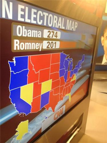 Kết quả kiểm phiếu theo CNN, cho thấy ông Obama tái cử tổng thống Mỹ.