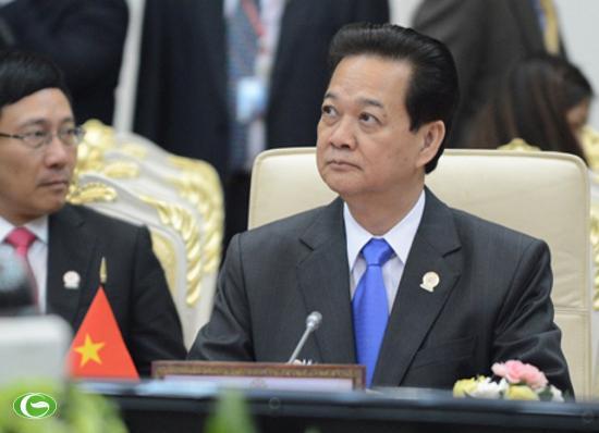 Thủ tướng Nguyễn Tấn Dũng tại Phiên họp toàn thể Hội nghị ASEAN 21 hôm qua.