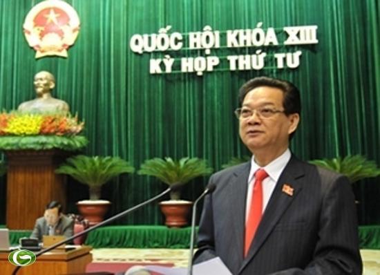 Thủ tướng Nguyễn Tấn Dũng tại phiên trả lời chất vấn trước Quốc hội sáng nay (14-11).