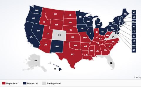 Các bang đã có kết quả kiểm phiếu. Bang xanh ủng hộ Obama, bang đỏ ủng hộ Romney. Đồ họa: ABC News