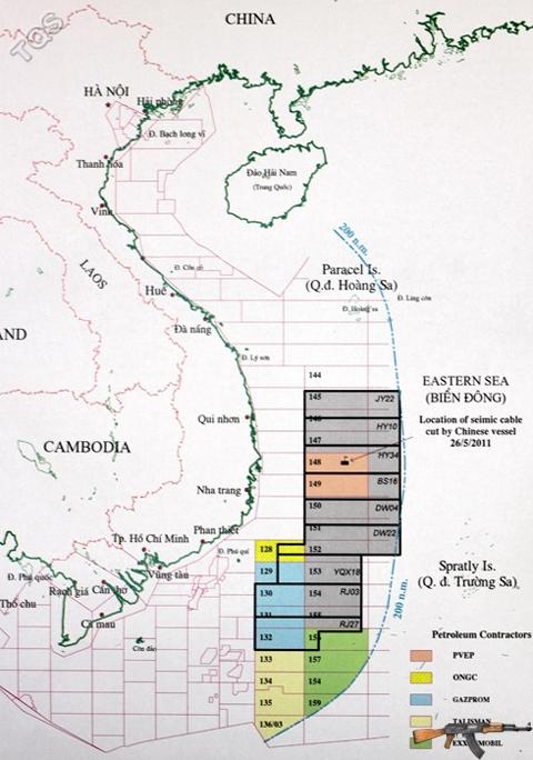 9 lô dầu khí mà CNOOC mở thầu quốc tế hoàn toàn nằm trong vùng đặc quyền kinh tế 200 hải lý và thềm lục địa của Việt Nam