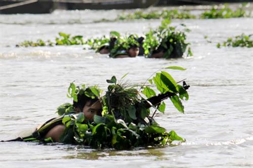 Các tổ chiến đấu thực hành vượt sông Sài Gòn