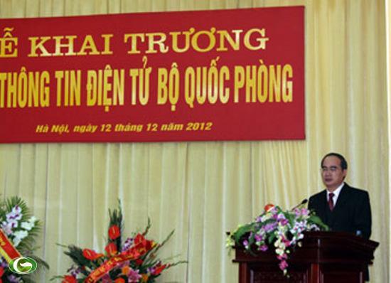 Phó thủ tướng Chính phủ Nguyễn Thiện Nhân phát biểu tại Lễ khai trương Cổng thông tin điện tử Bộ Quốc phòng