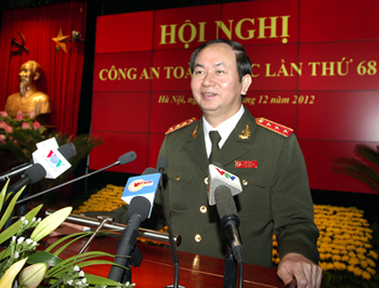 Bộ trưởng Bộ Công an Trần Đại Quang phát biểu tại Hội nghị. Ảnh: VGP/Nhật Bắc
