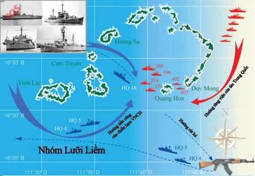 Bản đồ Hải chiến Hoàng Sa 1974. Các chiến hạm VNCH (ảnh nhỏ) - Đồ họa: Hồng Sơn