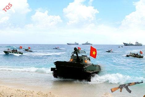Lực lượng Hải quân Đánh bộ Việt Nam trong một cuộc diễn tập đổ bộ đường biển.
