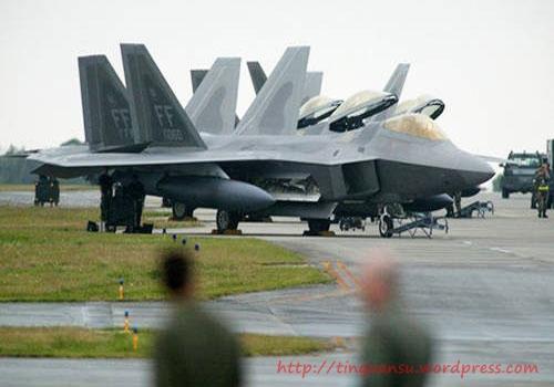Máy bay chiến đấu F-22 Raptor tại căn cứ không quân Mỹ ở Okinawa Nhật Bản