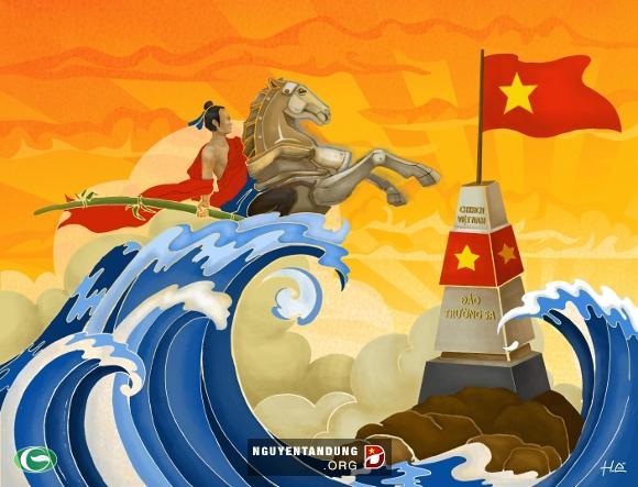 """Cậu bé Gióng ngày nào giờ đã trở thành """"chàng trai khổng lồ"""", cưỡi ngựa sắt, đạp gió rẽ sóng, khí thế oanh liệt, hướng về phía biển đảo Trường Sa."""