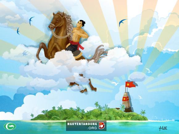 Thánh Gióng cùng ngựa thần bay về trời, dưới là biển đảo quê hương, với lá cờ Tổ quốc đang tung bay phất phới, nay đã vắng bóng quân thù và đất trời bình yên