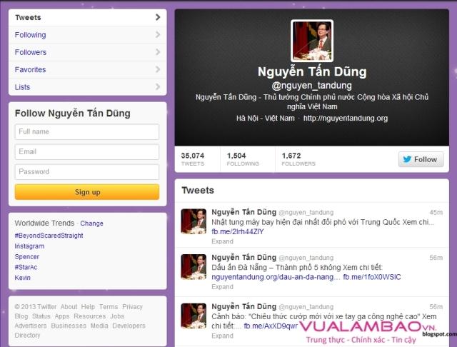 Twitter của Thủ tướng Nguyễn Tấn Dũng được cập nhật thông tin liên tục