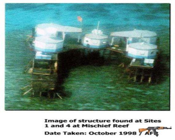 """Nhà nổi hình bát giác Trung Quốc xây dựng trái phép tại Đá Vành Khăn năm 1988 với cớ """"lấy chỗ cho ngư dân tránh bão"""""""